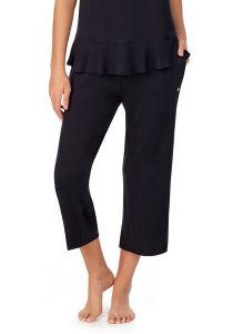 KATE SPADE SOLID LOUNGE CROPPED WIDE LEG PANT IN BLACK