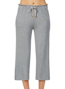 KATE SPADE SOLID LOUNGE CROPPED WIDE LEG PANT IN HEATHER GREY