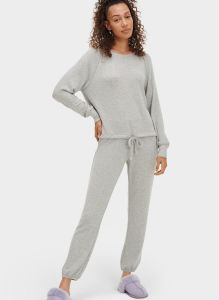 UGG GABLE SET LONG SLEEVE CREW AND JOGGER SET IN GREY