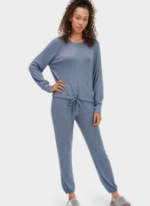 UGG GABLE SET LONG SLEEVE CREW AND JOGGER SET IN NAVY HEATHER