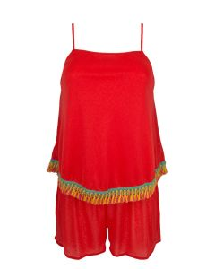 ANTIGEL LA SANTA ANTIGEL SWIM ROMPER IN ROUGE