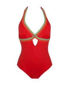 ANTIGEL LA SANTA ANTIGEL SWIM HALTER ONE PIECE IN ROUGE