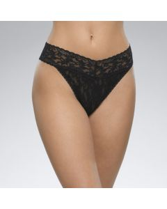 HANKY PANKY SIGNATURE LACE ORIGINAL RISE THONG IN BLACK