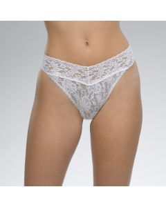 HANKY PANKY SIGNATURE LACE ORIGINAL RISE THONG IN WHITE