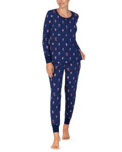 KATE SPADE HOLIDAY CHEER L/S HENLEY PJ SET IN NAVY