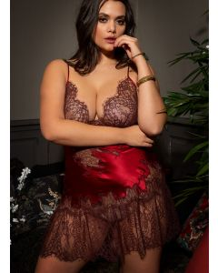 MARJOLAINE LEVANA LACE UP PEPLUM CHEMISE IN RED