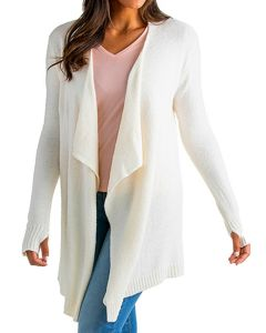 SOFTIES COZY CLOUD CARDIGAN W/ THUMBHOLES IN IVORY