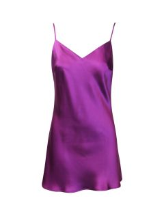 MARJOLAINE SOIE FANTAISIE SCROLL BACK CHEMISE IN ASTER