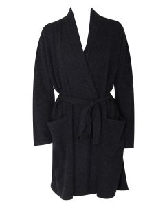 ARLOTTA CASHMERE SHORT ROBE IN CHARCOAL
