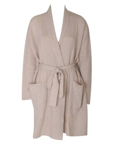 ARLOTTA CASHMERE SHORT ROBE IN OATMEAL