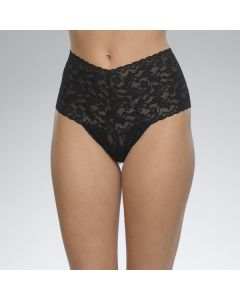 HANKY PANKY RETRO LACE RETRO THONG IN BLACK