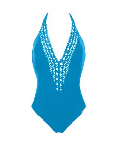 LISE CHARMEL AJOURAGE COUTURE SWIM TRIKINI PLUNGE FRONT IN TURQUOISE