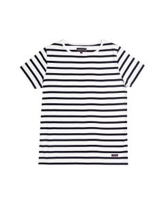 ARMOR LUX BRETON STRIPE SHORT SLEEVE TOP IN WHITE AND NAVY STRIPES