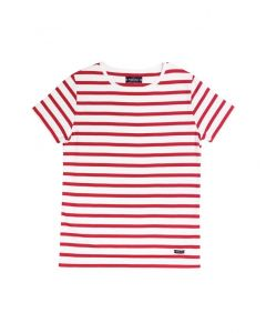 ARMOR LUX BRETON STRIPE SHORT SLEEVE TOP IN RED AND WHITE STRIPES