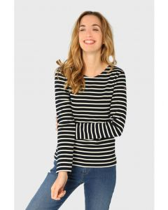 ARMOR LUX BRETON STRIPE LONG SLEEVE TOP IN NAVY/WHITE