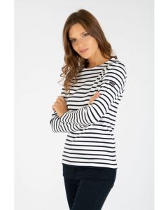ARMOR LUX BRETON STRIPE LONG SLEEVE TOP IN WHITE/NAVY