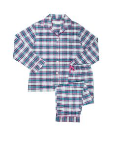 CAT'S PAJAMAS BROOKLAWN FLANNEL PAJAMA SET IN WHITE