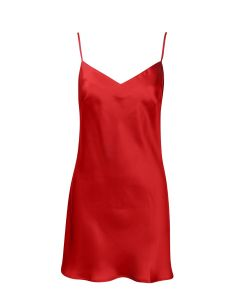 MARJOLAINE SOIE FANTAISIE SCROLL BACK CHEMISE IN RED