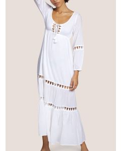 ANDRES SARDA ELSA SWIM L/S MAXI DRESS IN WHITE