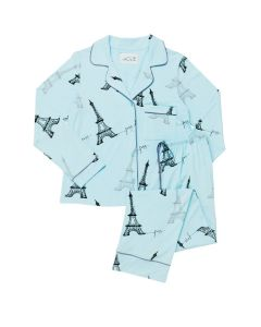 CAT'S PAJAMAS ETCHED EIFFEL KNIT PAJAMA SET IN BABY BLUE