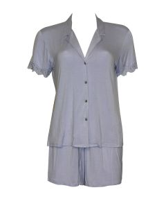 NATORI BARDOT ESSENTIALS SHORT PJ SET IN PERIWINKLE