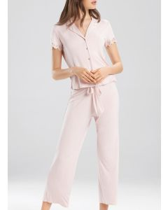 NATORI BARDOT ESSENTIALS SS CROPPED PJ SET IN SOFT PINK
