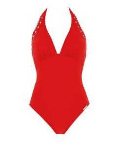 LISE CHARMEL AJOURAGE COUTURE SWIM TRIKINI IN CARMIN RED