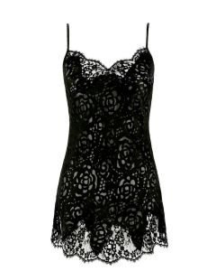 LISE CHARMEL DRESSING FLORAL BABY DOLL IN BLACK