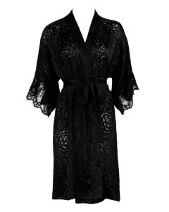 LISE CHARMEL DRESSING FLORAL SHORT ROBE IN BLACK