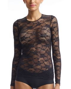 COMMANDO CHIC MESH FLORAL LONG SLEEVE TOP IN BLACK