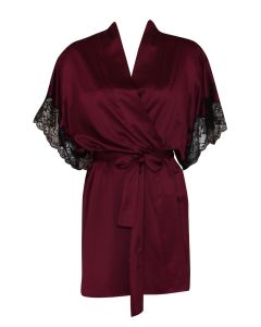 NATORI PLUME SHORT ROBE IN MULBERRY