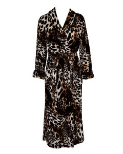 NATORI PLUSH LEOPARD LONG ROBE IN LEOPARD PRINT