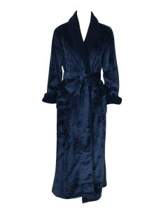 NATORI PLUSH SHERPA SOLID LONG ROBE IN BLUE