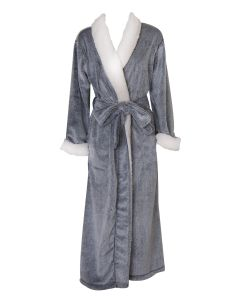 NATORI SHERPA LONG ROBE IN BLACK