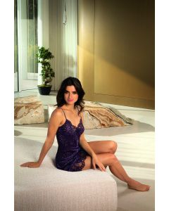 PRE ORDER ONLY: LISE CHARMEL DRESSING FLORAL SILK CHEMISE IN PURPLE