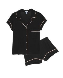 EBERJEY GISELE SHORT PJ SET IN BLACK