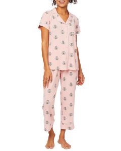 CAT'S PAJAMAS QUEEN BEE SS CAPRI PAJAMA SET IN PINK