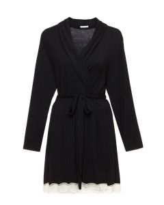EBERJEY LADY GODIVA SHORT ROBE IN BLACK