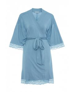 EBERJEY ANOUK SHORT ROBE IN BLUE