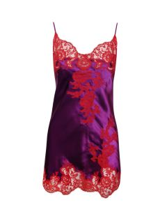 MARJOLAINE GEMMA CHEMISE W/LACE IN ASTER AND RED