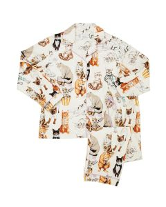 CAT'S PAJAMAS SAUCY CAT FLANNEL PAJAMA SET IN WHITE