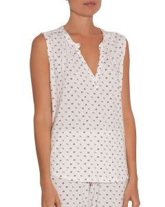 EBERJEY PARASOLS SLEEVELESS TOP IN WHITE