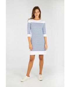 ARMOR LUX BRETON STRIPE 3/4 SLEEVE DRESS IN WHITE AND BLUE