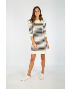 ARMOR LUX BRETON STRIPE 3/4 SLEEVE DRESS IN NATURAL AND NAVY