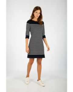 ARMOR LUX BRETON STRIPE 3/4 SLEEVE DRESS IN NAVY AND NATURAL