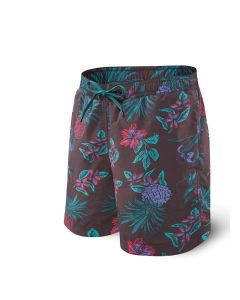 SAXX CANNONBALL MEN'S SWIM TRUNK SHORT IN RED PINEAPPLE PARTY