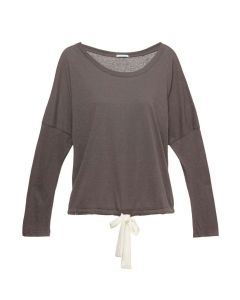 EBERJEY HEATHER L/S PAJAMA TOP IN CHARCOAL