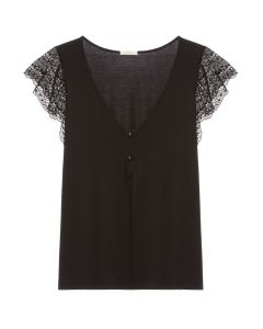 EBERJEY MYLA SS PAJAMA TOP IN BLACK