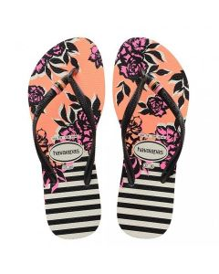 HAVAIANA WOMEN SLIM THEMATIC FLIP FLOP IN BLACK AND WHITE