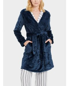 UGG MIRANDA SHORT HOODED ROBE IN INDIGO BLUE